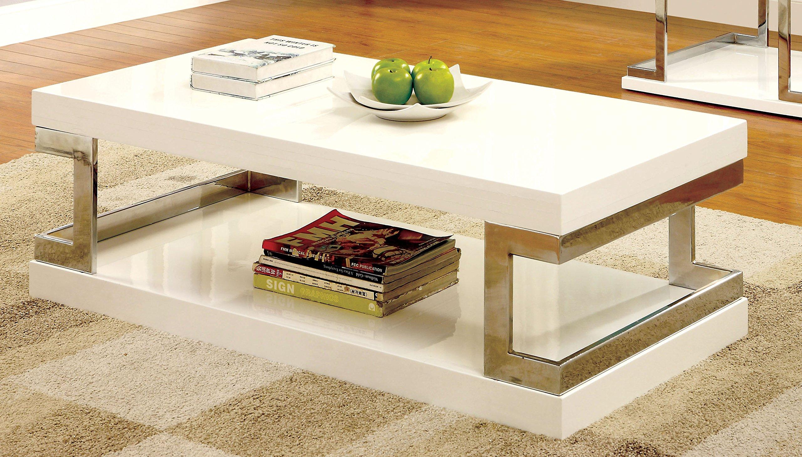 Furniture of America Adina Modern Coffee Table, White by Furniture of America