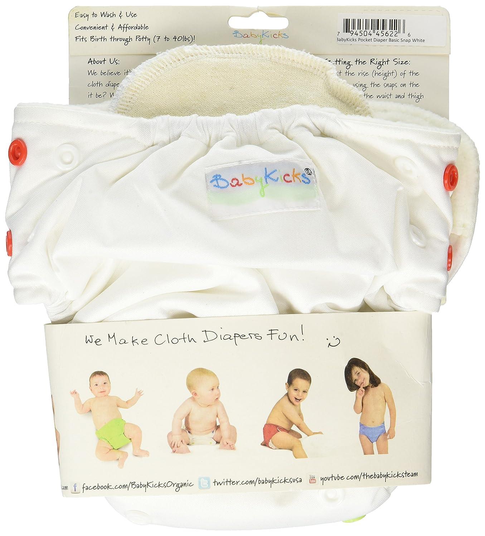 BabyKicks 794504456226 Basic - Pañal de tela (cierre de corchetes, 3-18 kg), color blanco: Amazon.es: Salud y cuidado personal