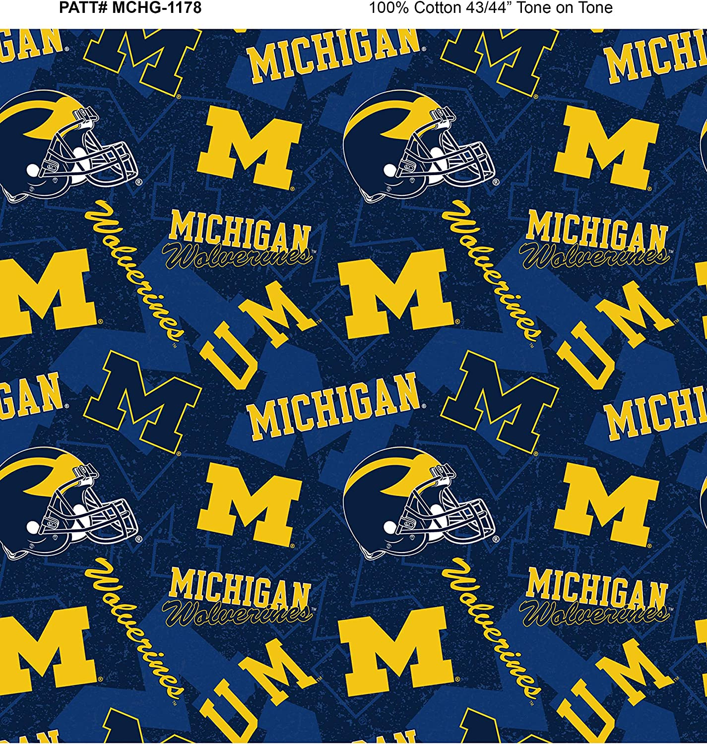Fabric by the Yard Michigan 1178 Tone on Tone Navy//Yellow Sykel Enterprises NCAA