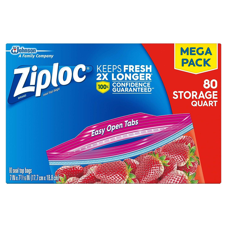 Ziplock Storage Bags Quart 24 Ct Pack of 6