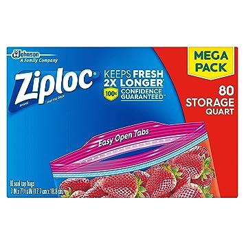 Amazon.com: Bolsas de almacenamiento Ziploc Quart, 80.0 ...