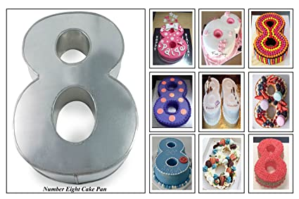 Euro Tins Numeric Cake Pan 25cm Birthday Tin Number Eight 8 Large 10quot