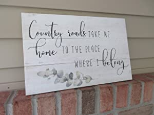 Wall Art Take me Home Country Roads - Country Music - Rustic Wood Sign - Cottage Decor - Farmhouse Decor - Song Lyric - Country Decor - #johndenver Wood Plaque, Custom Gift