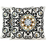 NOVICA Set of 2 Embroidered Applique White and Black Floral Cushion Covers 'Jaipur Blossom'