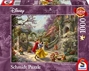 Schmidt Spiele 59625 Jigsaw Puzzle Thomas Kinkade, Disney, Snow White Dance with The Prince, 1000 Pieces Puzzle, Multi-Coloured