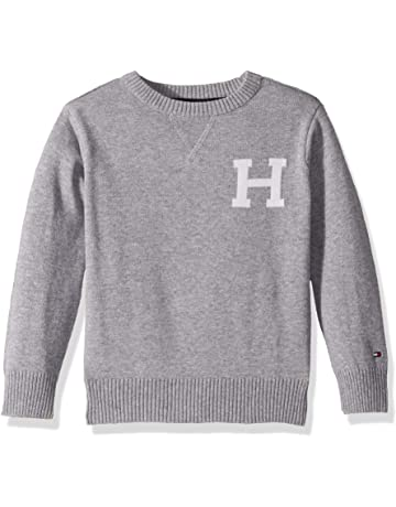 6cc39c204 Tommy Hilfiger Boys  Long Sleeve Crew-Neck Sweater