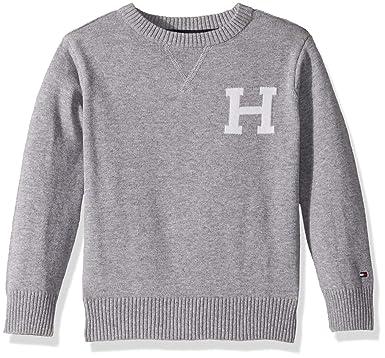 Tommy Hilfiger Toddler Boys  Long Sleeve Crew-Neck Sweater, Original Grey  Heather, dfeec57112