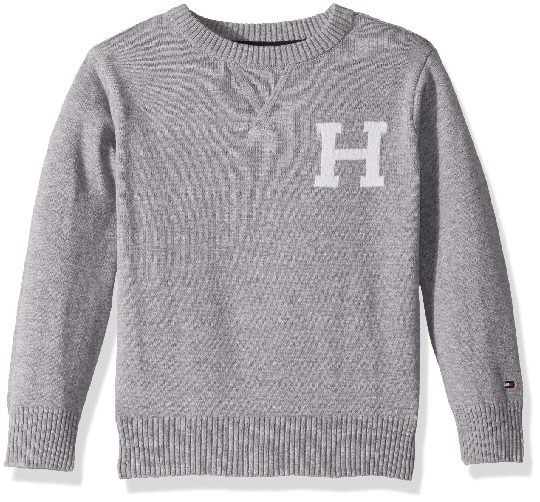 Tommy Hilfiger Toddler Boys' Long Sleeve Crew-Neck Sweater, Original Grey Heather 2T