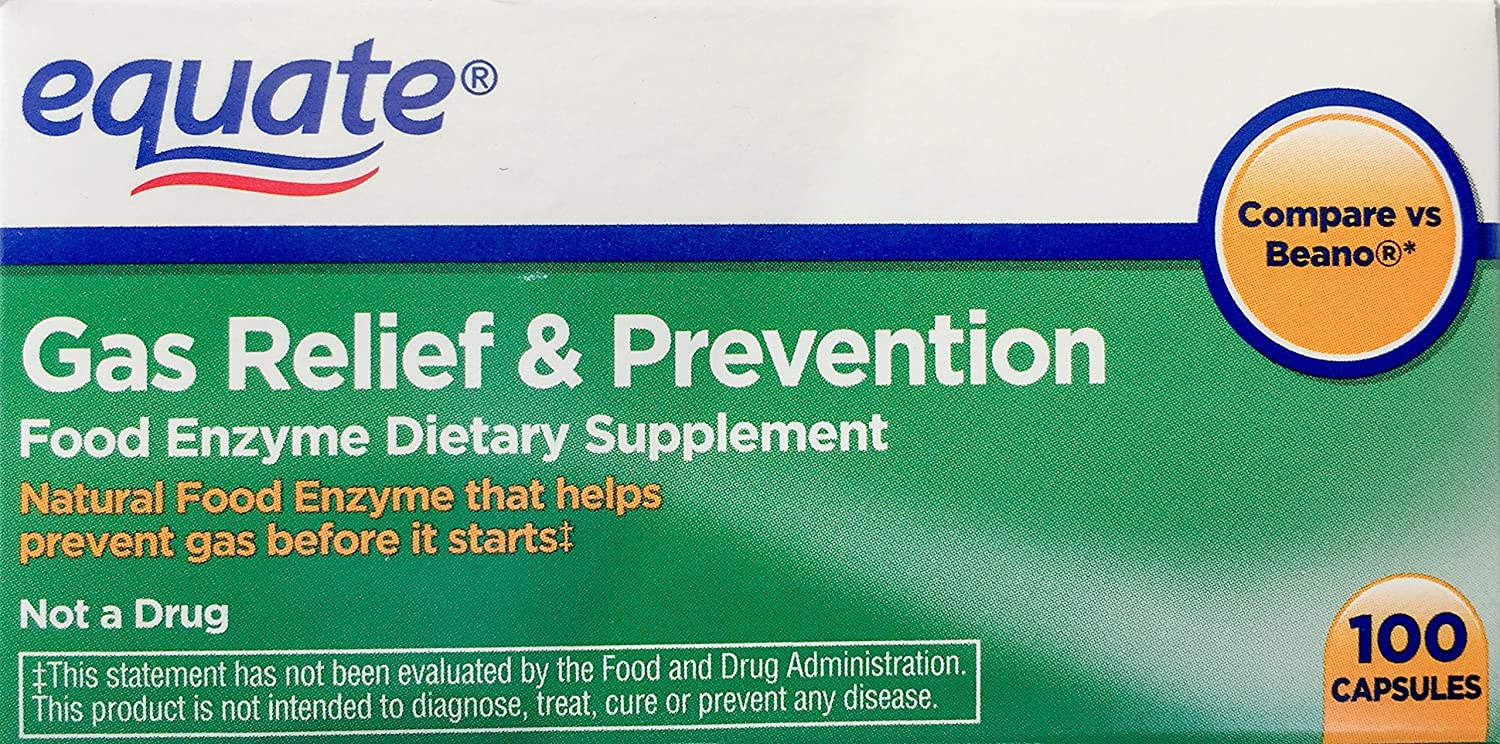 Equate 2 Pack of Gas Relief Prevention, Food Enzyme Dietary Supplement, 200 Count: Health & Personal Care