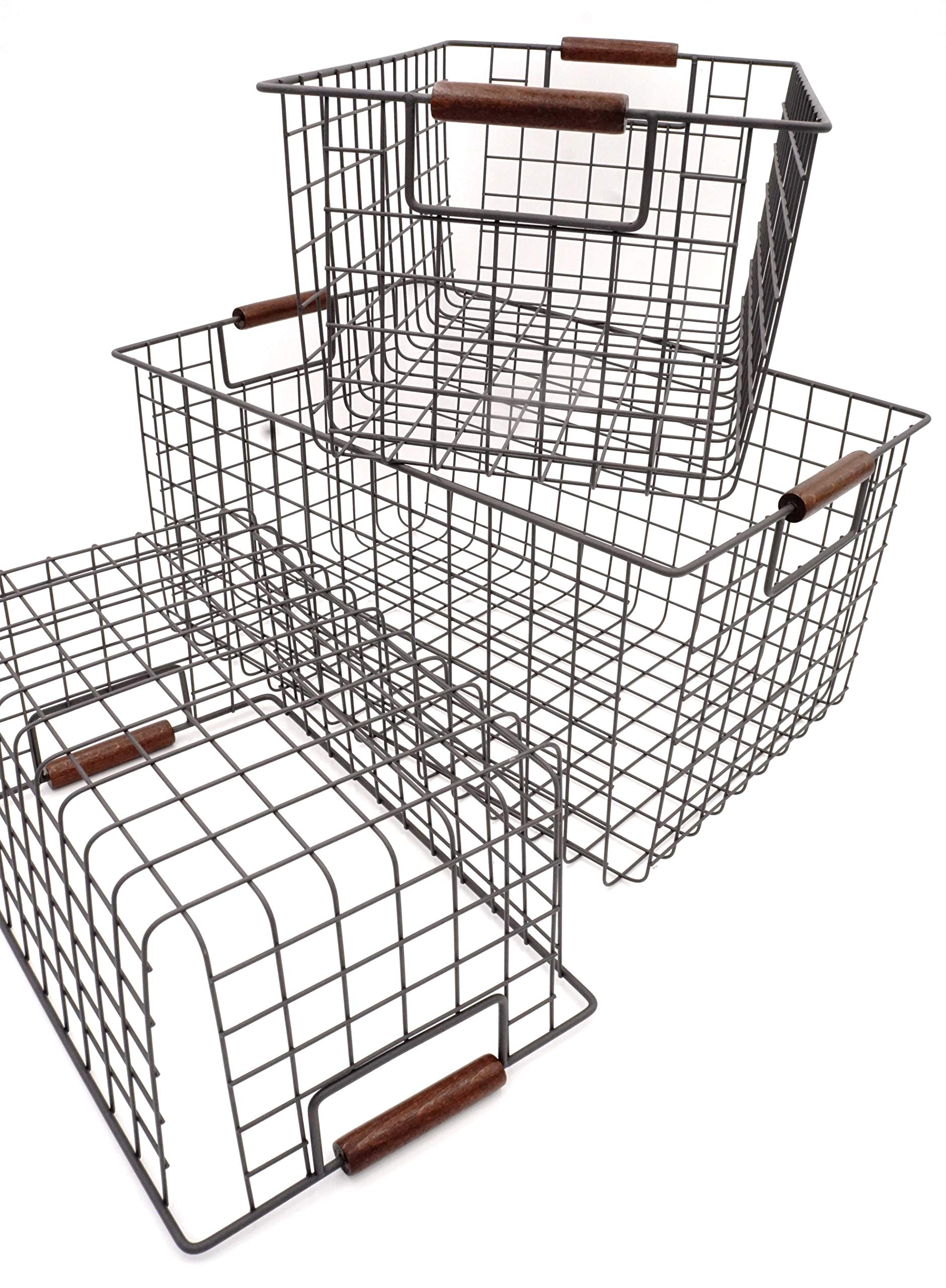 KeKaBox Set of 3 Metal Wire Nesting Storage Baskets with Wood Handles by KeKaBox (Image #2)