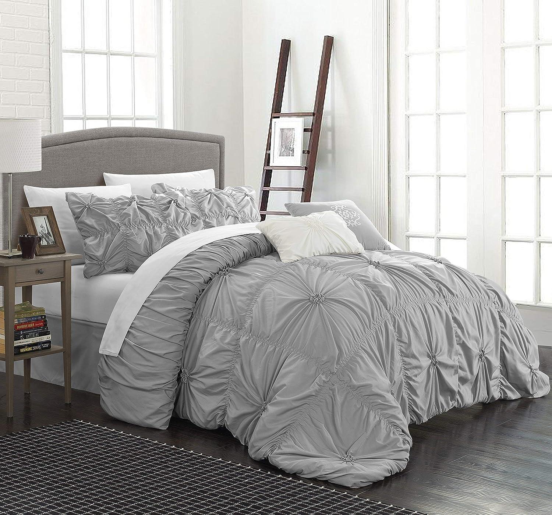 Chic Home CS1442-AN Halpert Floral Pinch Pleat Ruffled Designer Embellished Queen Comforter Set, 6-Piece, Silver
