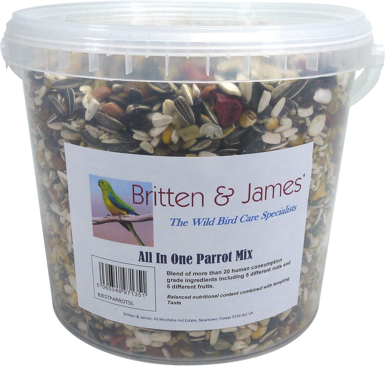 Britten & James Best All In One Parrot Mix de 5 litros de Tina Fresca. Esta excelente combinación ha Sido creada sin Reparar en Gastos para ser la Mejor Comida Todo en uno para su Loro.