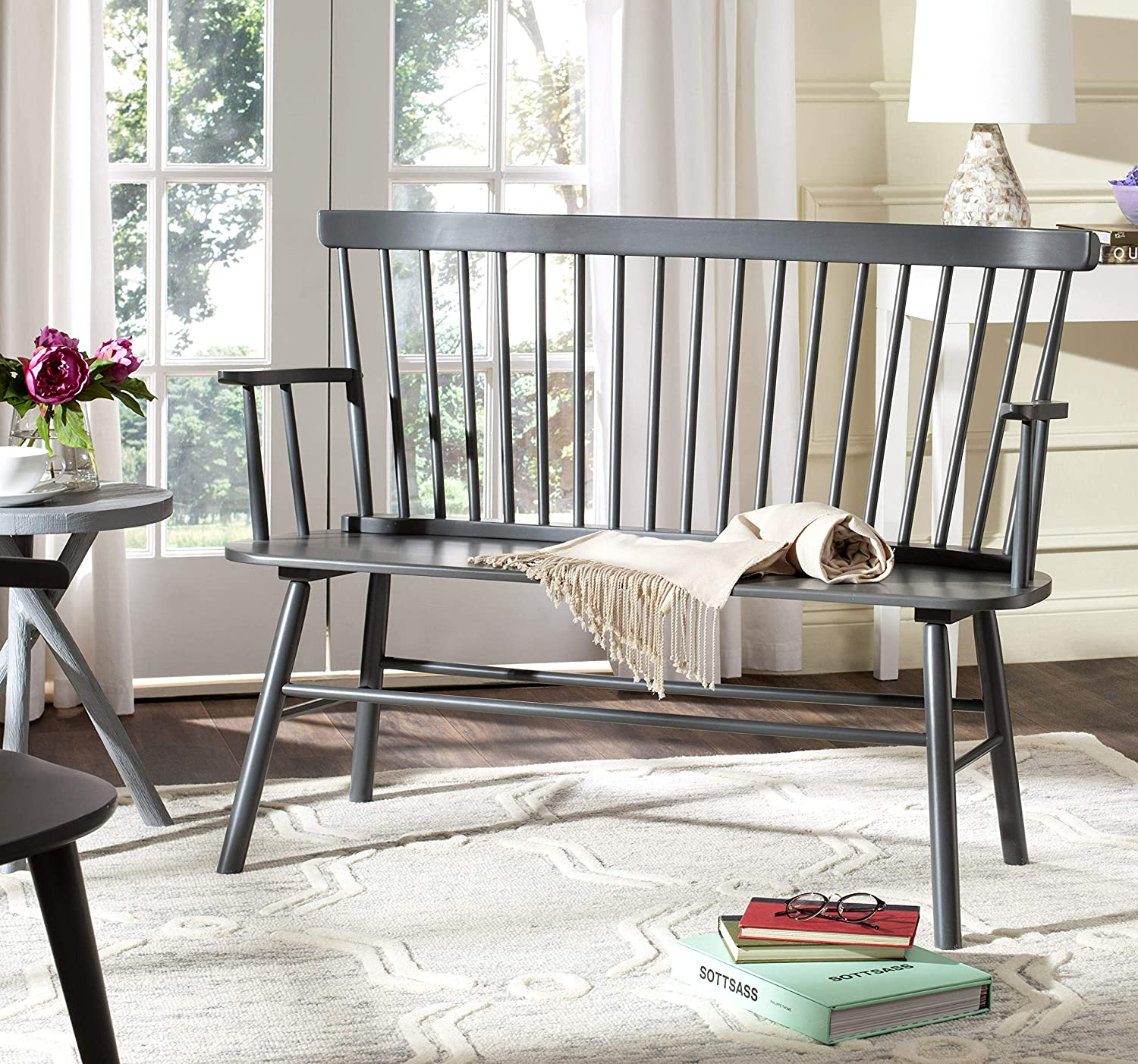 Safavieh American Homes Collection Addison Spindle Back Grey Bench