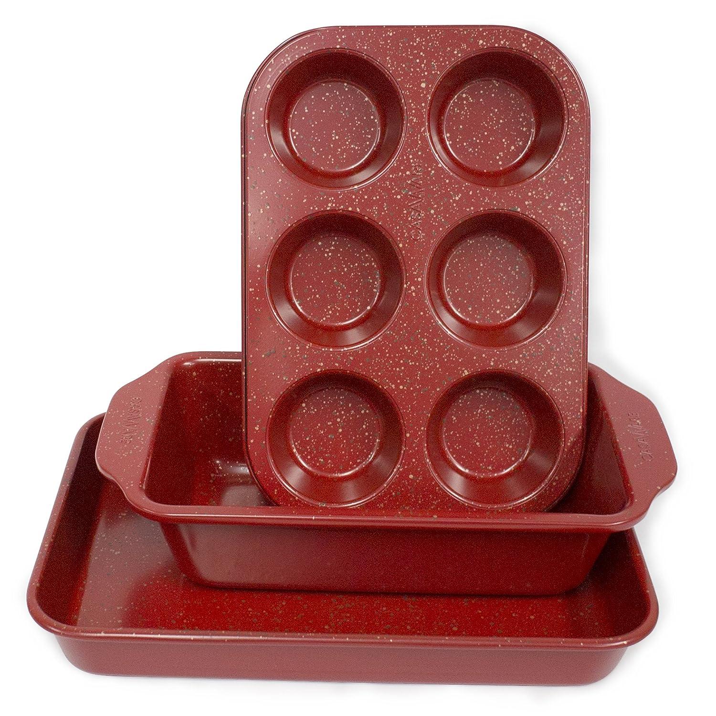 casaWare Toaster Oven 3-Piece Set (Red Granite)