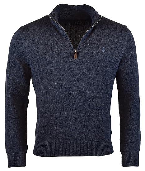 Amazon.com  Polo Ralph Lauren Mens Half Zip Ribbed Trim Cotton ... 184b45214400