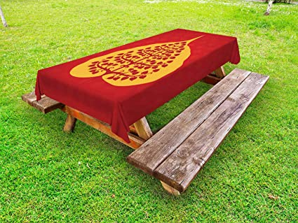 Amazon.com: Ambesonne Leaf Outdoor Tablecloth, Design of ...