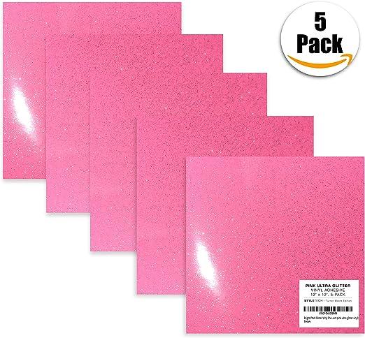 StyleTech - Lote de 5 hojas de vinilo con purpurina rosa brillante de 30 x 30 cm para manualidades, vinilo, adhesivo, Cricut, Expression, Explore, Silhouette Cameo, carteles, pegatinas de vinilo (vinilo de