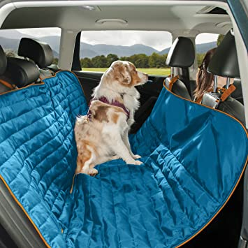 Medium image of kurgo waterproof loft tm  hammock style car seat cover for dogs blue