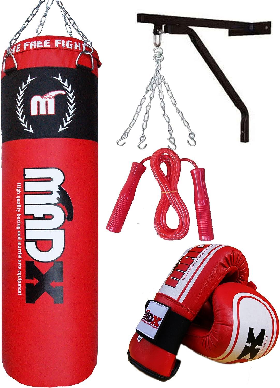 MADX - Juego de boxeo con saco de piel (1,2 m), guantes, soporte de pared y diversos accesorios: Amazon.es: Deportes y aire libre