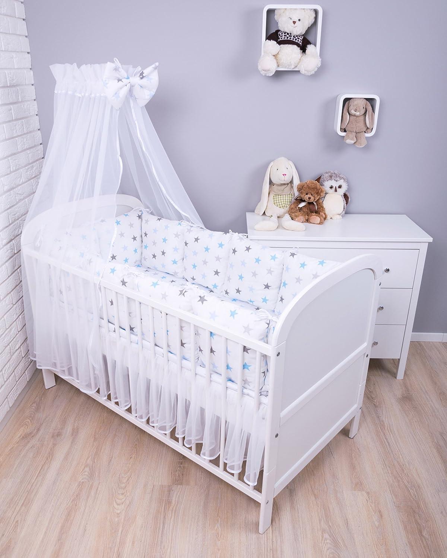 Amilian/® Baby Nestchen Bettumrandung 420 cm Design Sternchen gro/ß Blau Bettnestchen Kantenschutz Kopfschutz f/ür Babybett Bettausstattung
