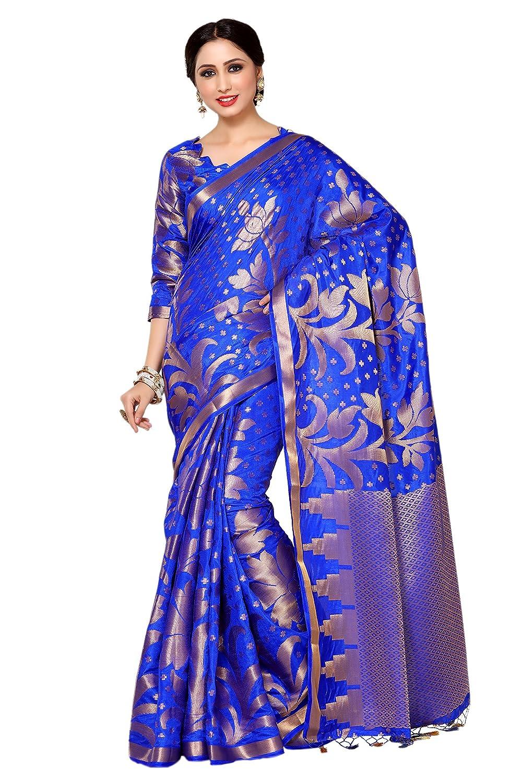 Blue Color Kanjivaram Silk Saree With Running Blouse Piece
