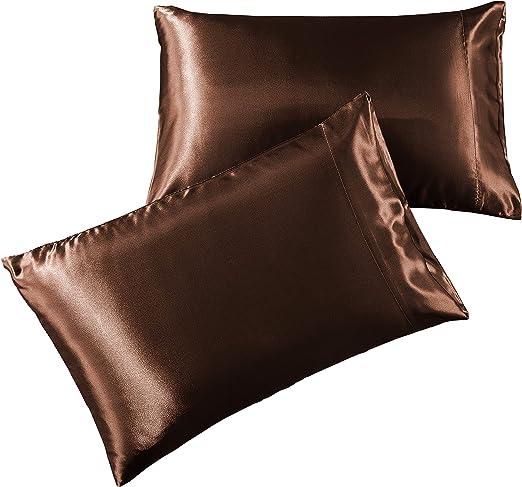 Amazon Com Pure Bedding Satin Pillowcase Queen 2 Pack Brown