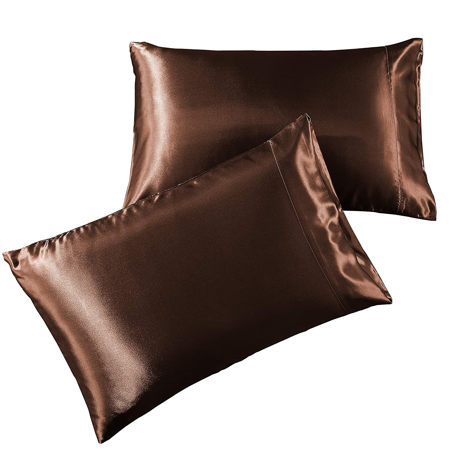 Pure Linen Satin Pillowcase Queen [2-Pack, Brown] - Hotel Luxury Silky Pillow Cases for Hair and Skin - Extra Soft 1800 Double Brushed Microfiber ...