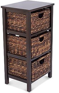 BirdRock Home Seagrass Cubby Dresser | 3 Drawer Bins | Decorative Wood  Storage Cubbies Shelf Organizer