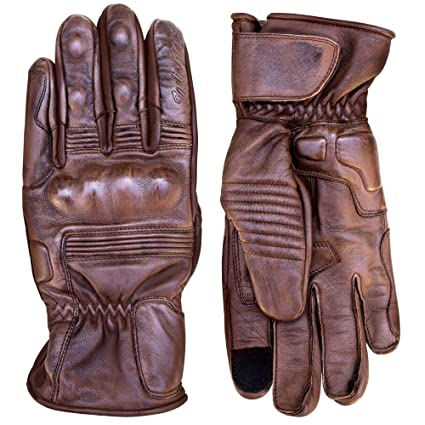 1ce66b93c4e09 Amazon.com: Premium Leather Motorcycle Gloves (Brown) Cool, Comfortable  Riding Protection, Full Gauntlet with Mobile Touchscreen Fingers (X-Large):  ...