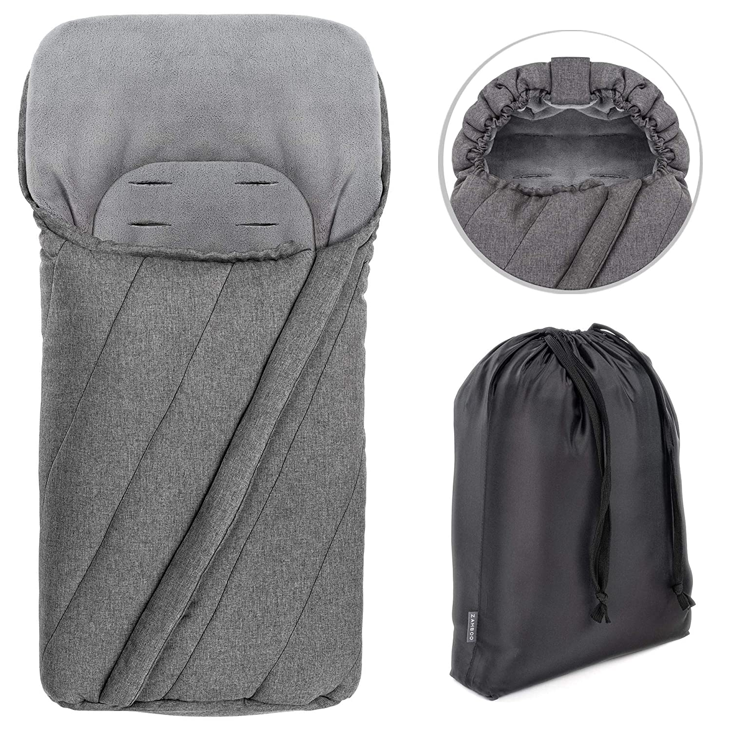 Stroller Non-Slip Thermo Fleece Baby Footmuff with Drawstring Hood and Storage Bag Pushchair and Buggy Zamboo Universal Winter Footmuff for Pram Grey