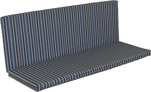 A L Furniture Sundown Agora 6 Full Bench Cushion, Seat 68L 17W 1 T, Back 68L 21H 1 T, Overall 68L 38W 1 T, Blue Stripe