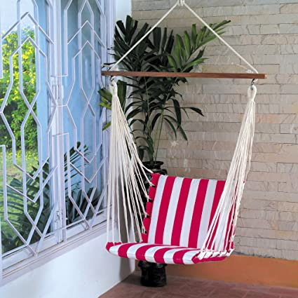 OAK N' OAK Hardwood Hanging Hammock Swing/Hanging Rope Swing Chair for Backyard, Bedroom (Stripe)