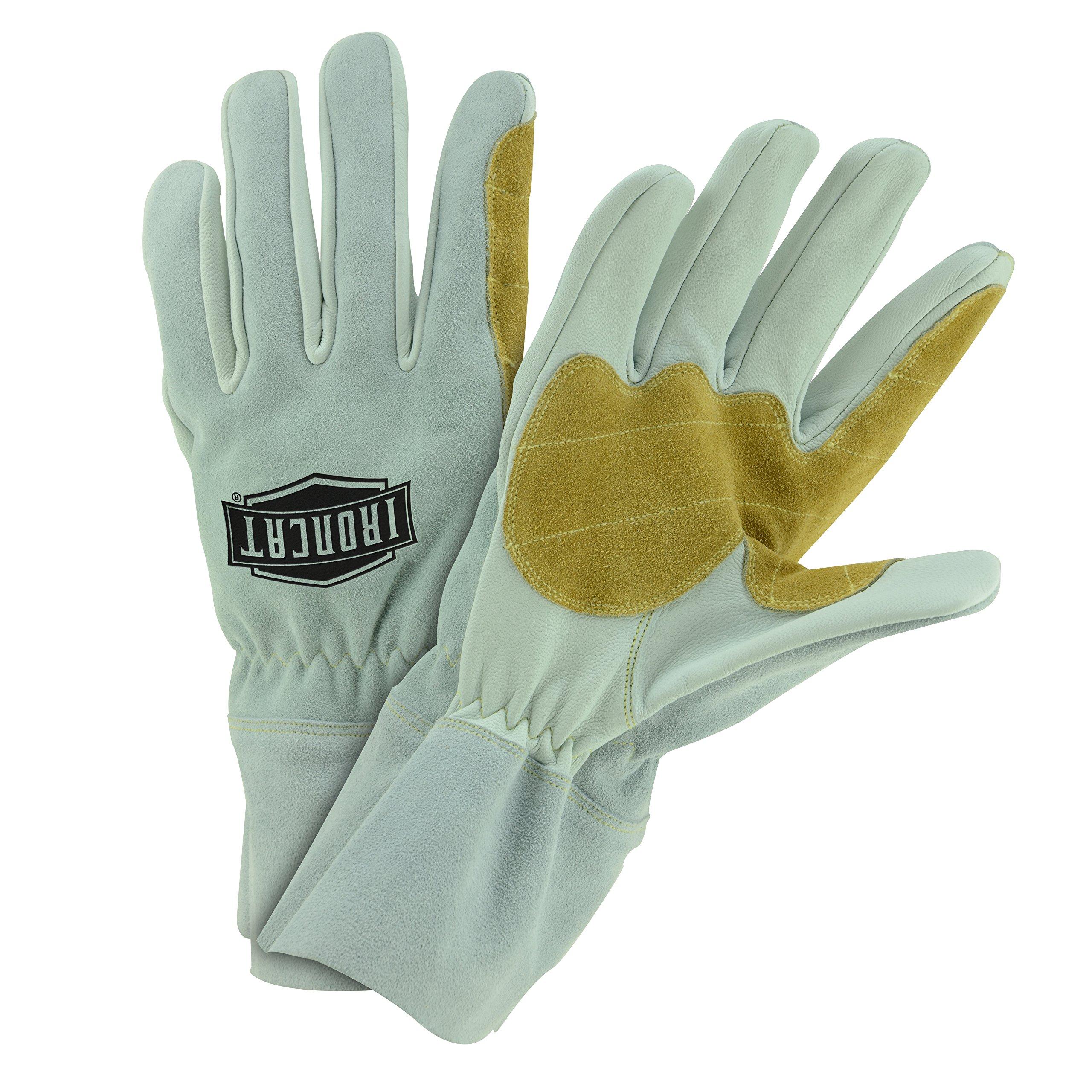 Ironcat 9071 2XL Goat MIG Glove, 4'' Short Cuff, 2XL 5.75'' x 13.25'', Beige Tan