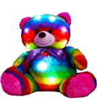 "The Noodley's LED Light Up Multi Color Teddy Bear 14"" with Timer Colorful Stuffed Animal Night Light Kids Gift"