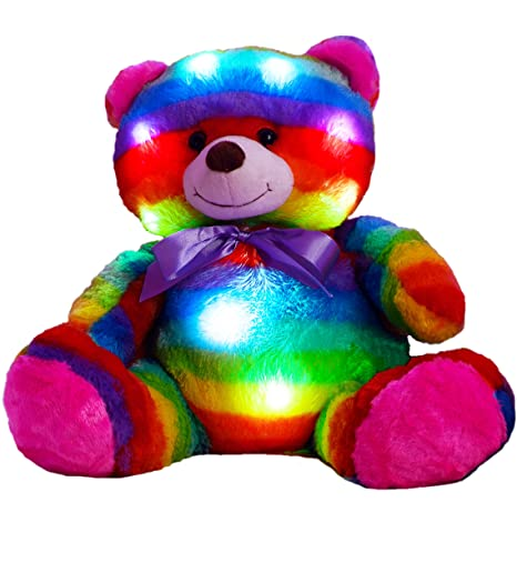 The Noodley LED Light Up Multi Color Teddy Bear 14quot With Timer Colorful Stuffed Animal