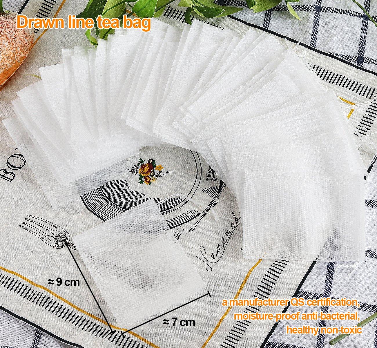 Liroyal 100PCS Sachet de Th/é Vide en Non-Tiss/é Jetable Multiusage D/éfilage Filtre /à Th/é Taille de 7cm*9cm