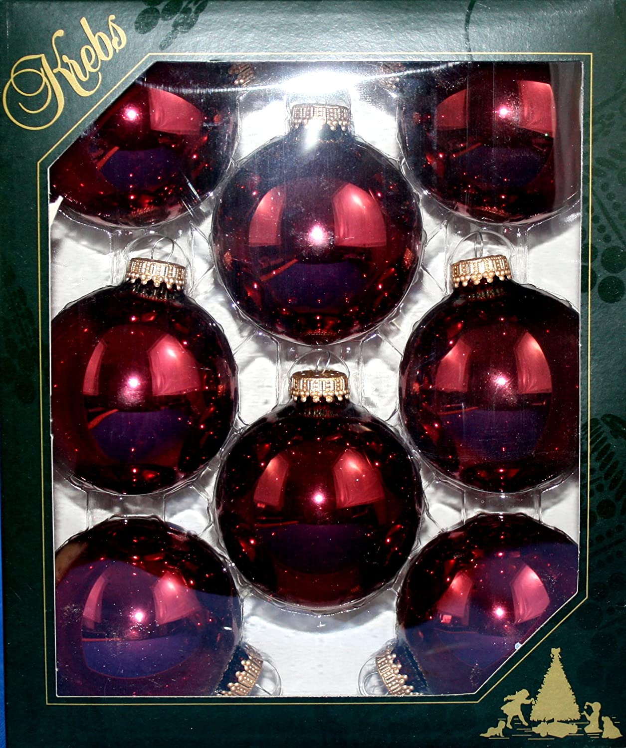 Krebs Distinctive Glass Ornament 8 Pack with Gold Crowns (Burgundy Red) Christmas By Krebs