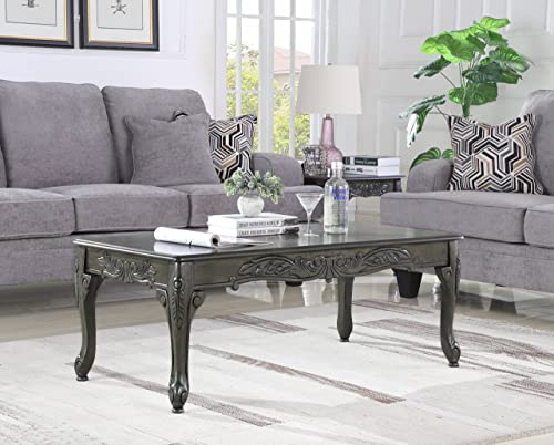 Roundhill Furniture Traditional Ornate Detailing Wood Coffee Table, Grey