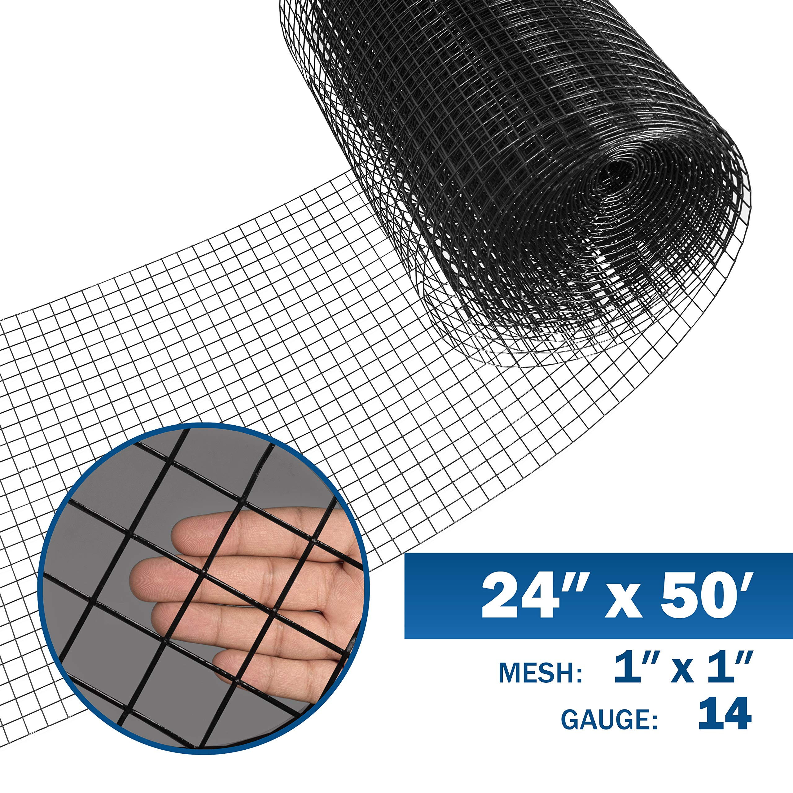 Fencer Wire 14 Gauge Black Vinyl Coated Welded Wire Mesh Size 1 inch by 1 inch (2 ft. x 50 ft.) by Fencer Wire