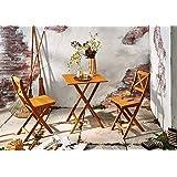 SAM® 3tlg. Balkon- Gartengruppe, Sitzgruppe aus Akazien-Holz geölt, bestehend aus 1x Tisch + 2x Klappstuhl, klappbar
