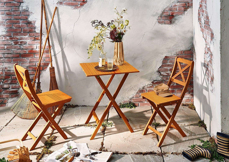 SAM® Conjunto para balcón resistente, 3 piezas, 1 mesa + 2 sillas, mueble de madera de acacia plegable aceitado y macizo. Tirantes en forma de X en el ...