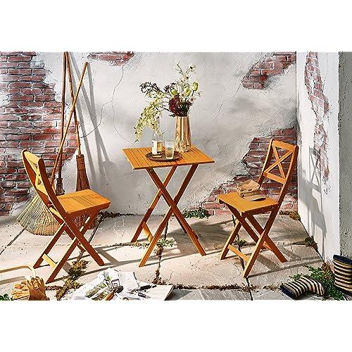 SAM® Conjunto para jardín de color natural, mueble de madera de acacia, 3 piezas, 1 mesa + 2 sillas, plegables y aceitadas
