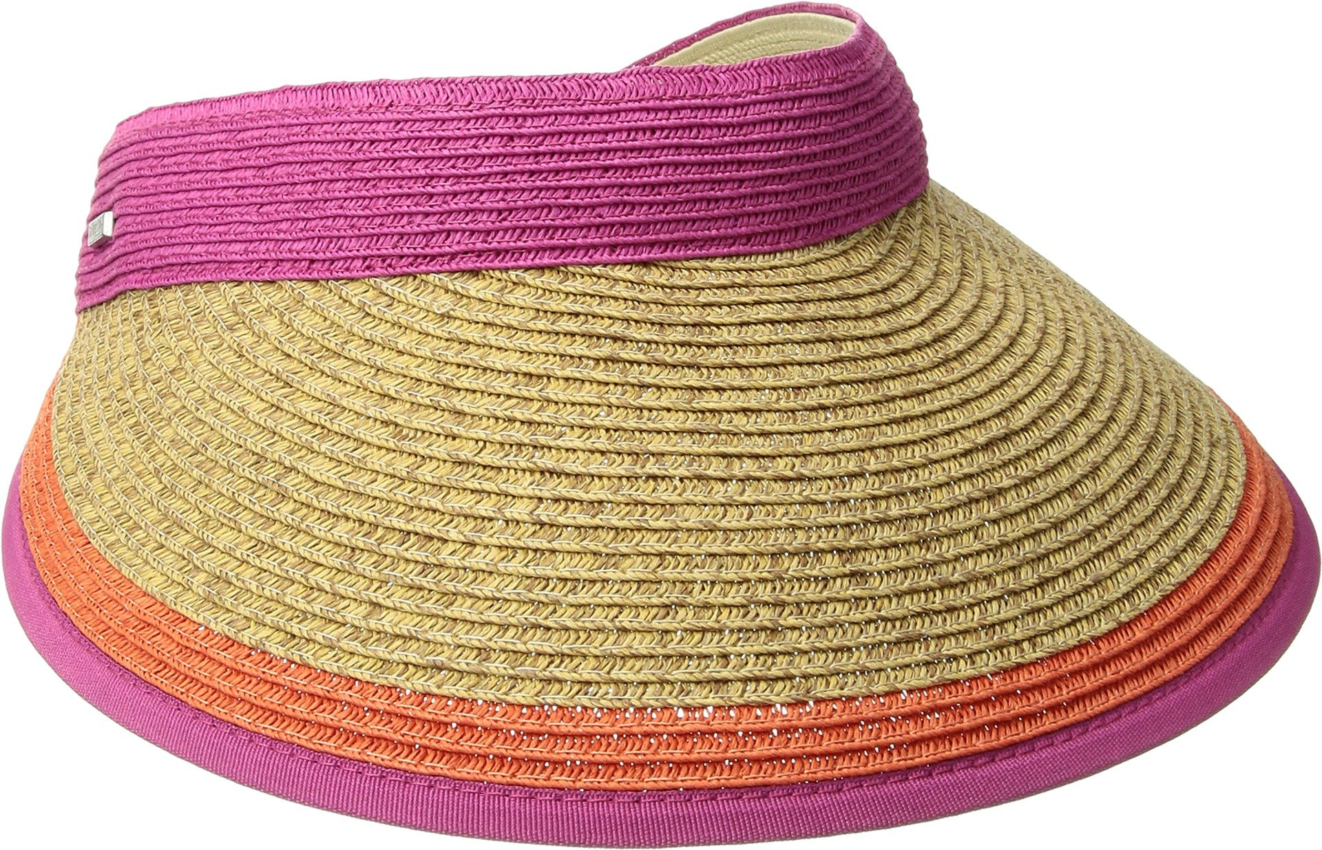 San Diego Hat Company Women's Contrast Color Stripe and Adjustable Back Visor, Hot Pink, One Size
