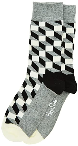 Happy Socks Filled Optic, Calcetines para Hombre, 100 DEN, Multicolore, única