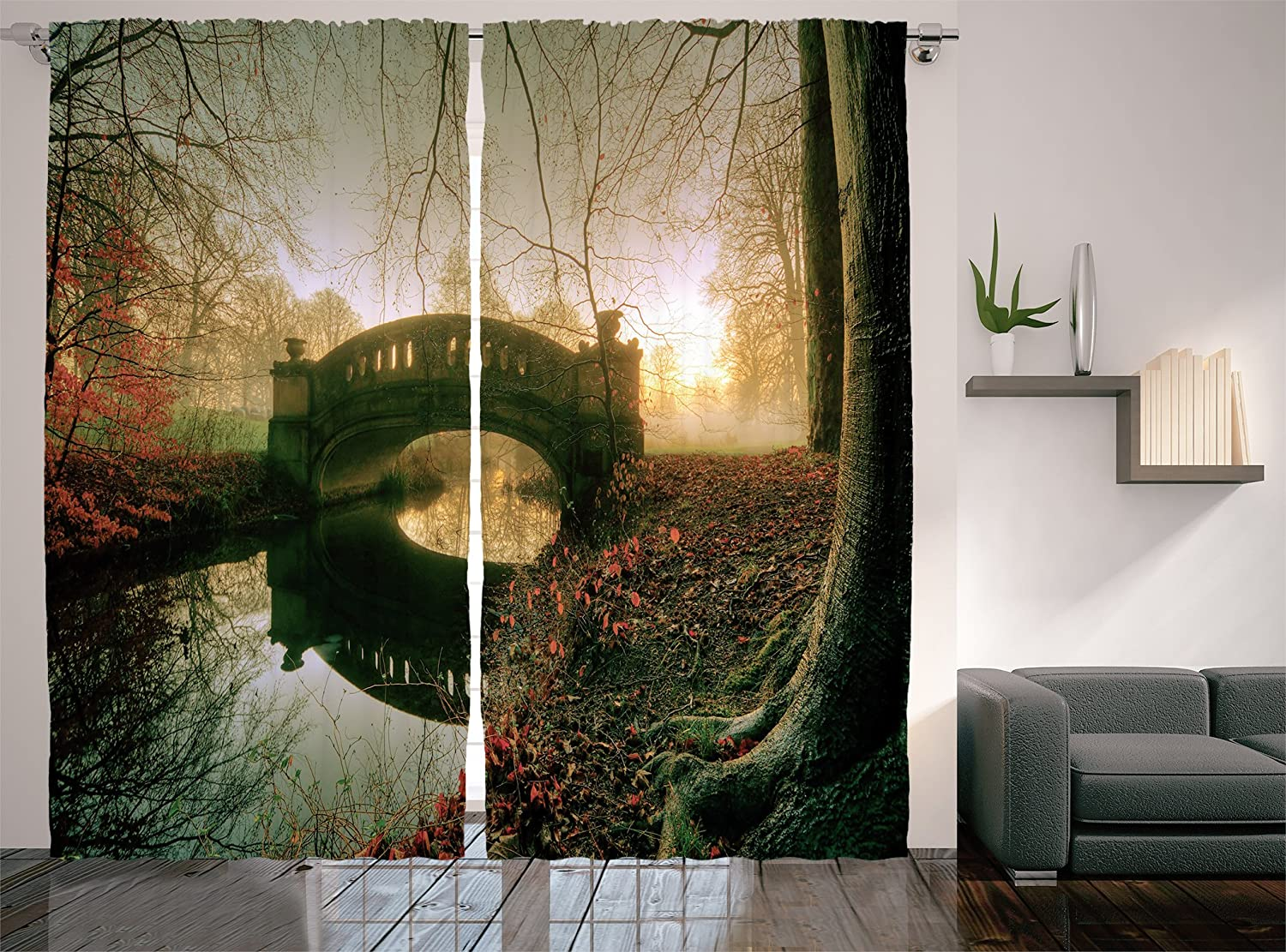 "Ambesonne Landscape Curtains, Mystical Stone Bridge on Blurred River with Foggy Autumn Forest, Living Room Bedroom Window Drapes 2 Panel Set, 108"" X 84"", Paprika Dark Green Peach"