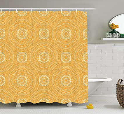 Yellow Mandala Shower Curtain Delicate Paisley Figures In Thin Floral Circles Lace Style Old Fashioned