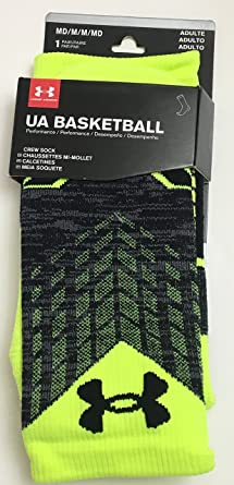 Under Armour Basketball Performance Crew Socks Neon Yellow