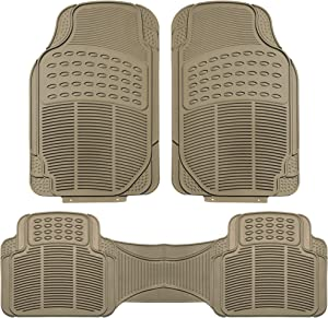 FH Group F11306BEIGE Tan All Weather Floor Mat, 3 Piece (Full Set Trimmable Heavy Duty)