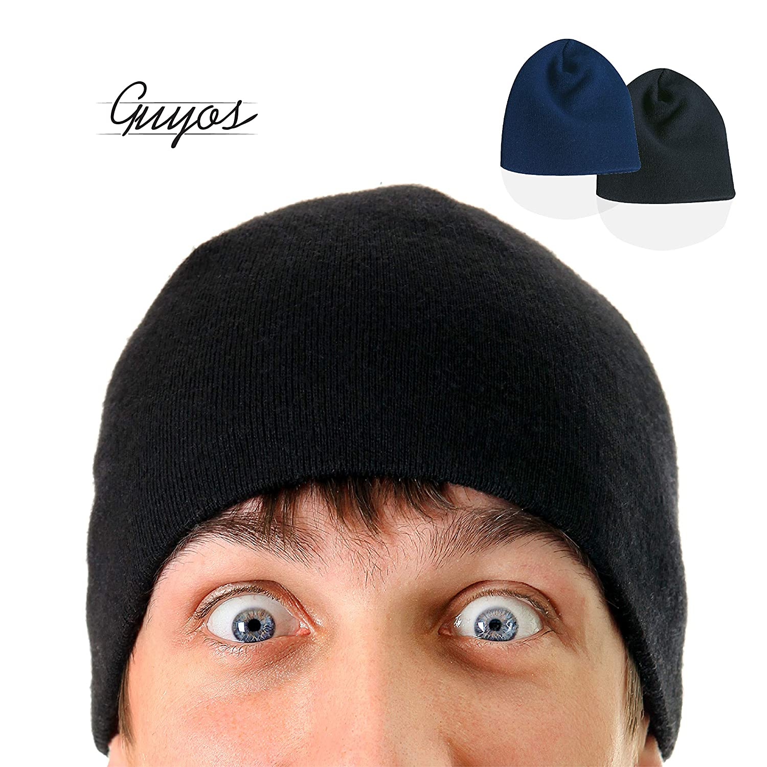 ... Guyos Beanie for Women and Men Unisex Cuffed Plain Skull Toboggan Warm Double  Layer Knit Hat 51a9b1861429
