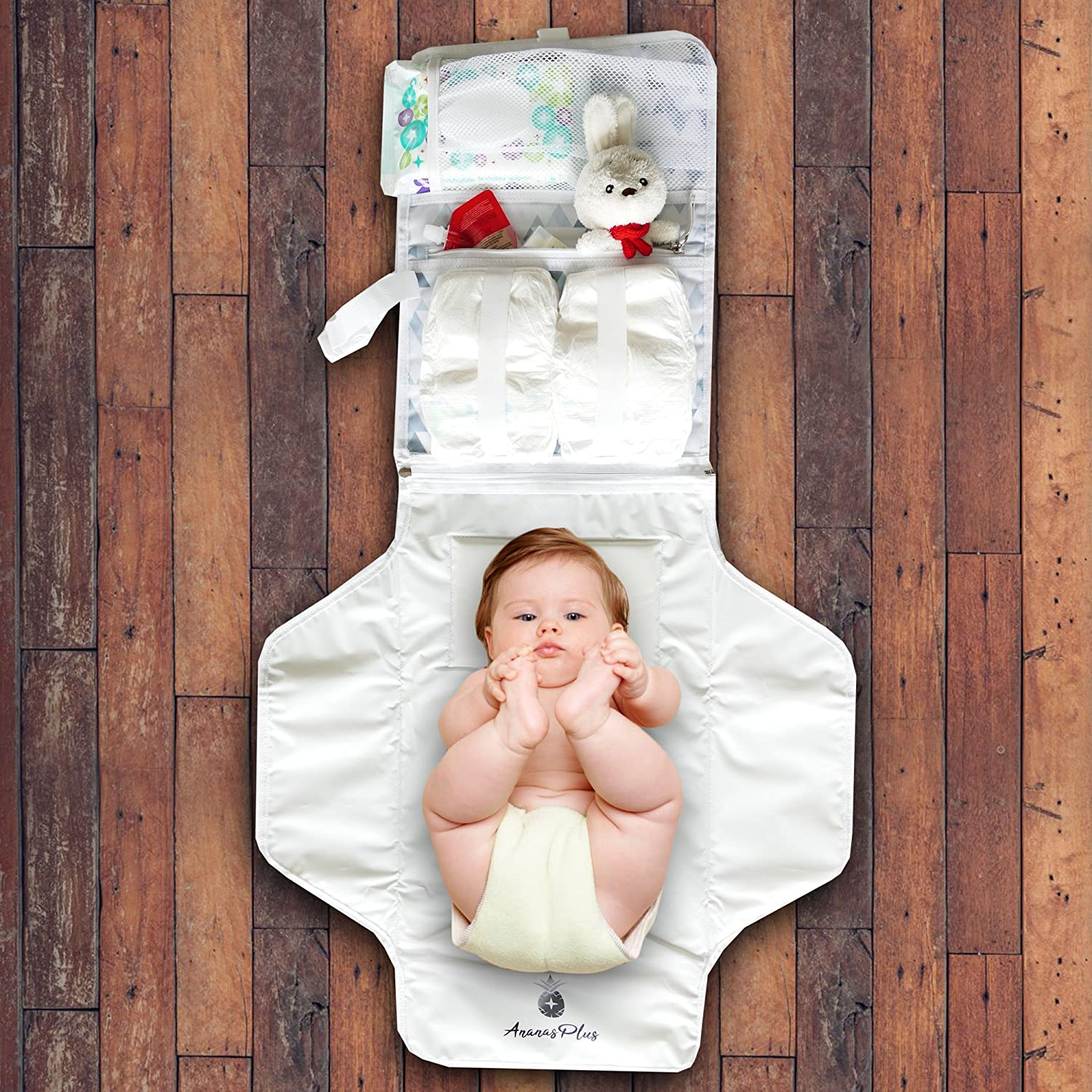 Portable Baby Diaper Changing Station by Ananas Plus Top Baby Shower Gift Waterproof BPA Free Cushioned Contoured Infant Diaper Changing Pad w//Pillow|2-in-1 Travel Changing Station /& Stylish Bag